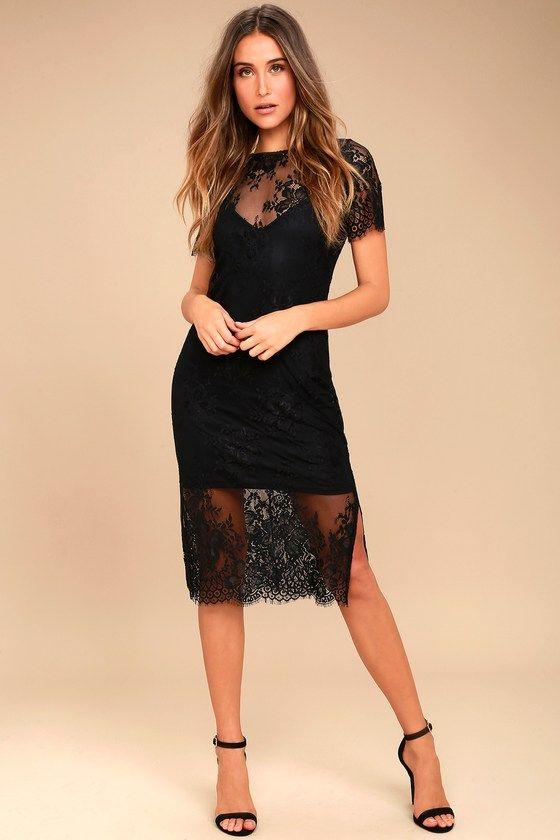 Close To You Black Lace Midi Dress Little Black Dress