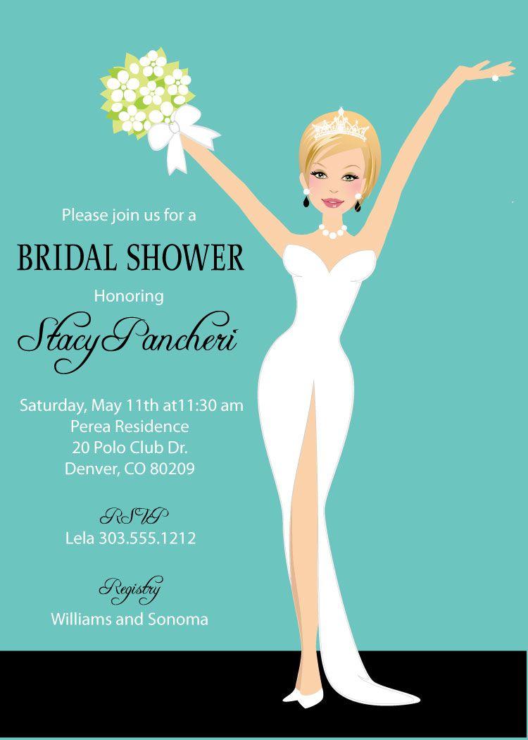 elegant bride bridal shower invitations