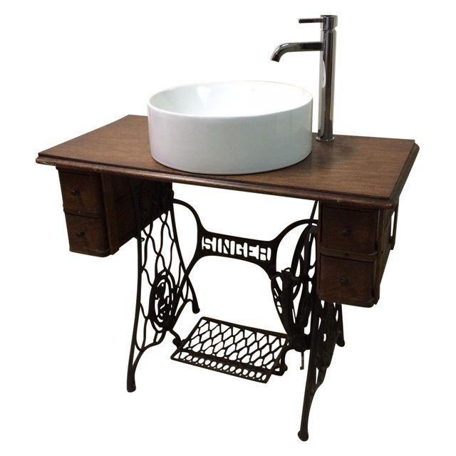 Singer Sewing Table Converted Bathroom Sink Vanity Singer Sewing Tables Antique Bathroom Sink Sewing Machine Table Diy