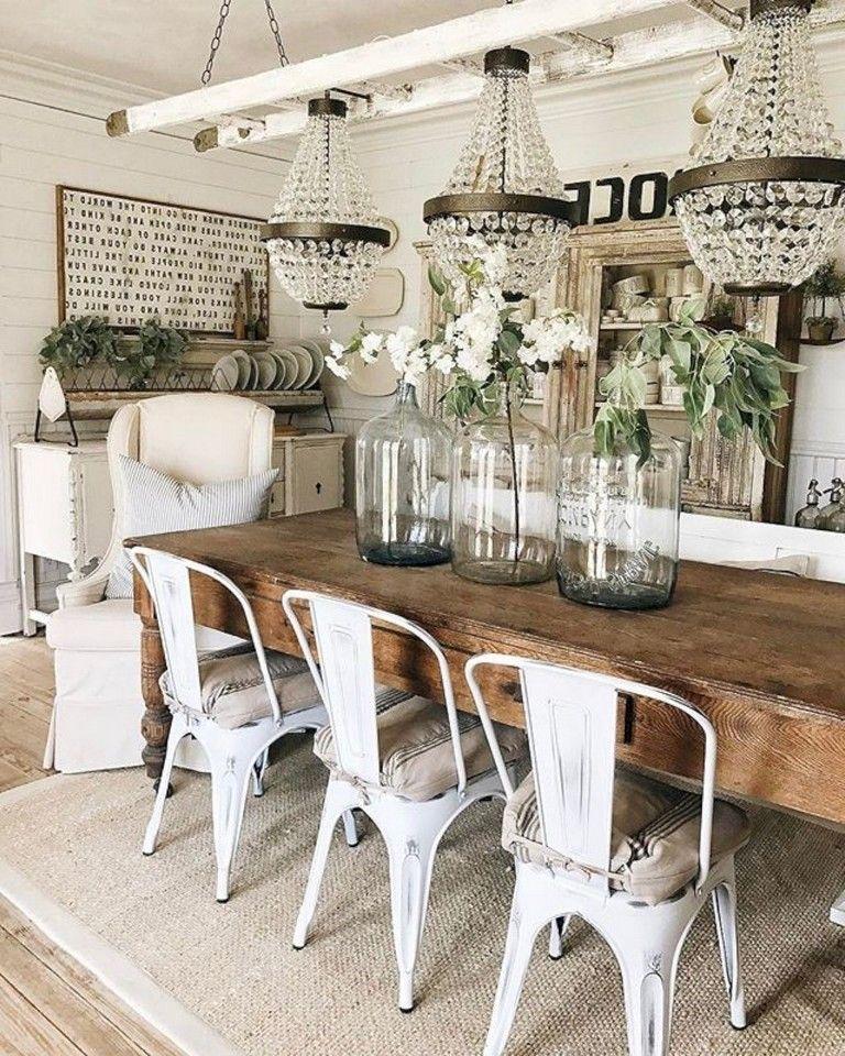 26 Stunning Dreamiest Farmhouse Dining Room Design Ideas Esstisch Design Wohnen Bauernhaus Kuchen Dekor