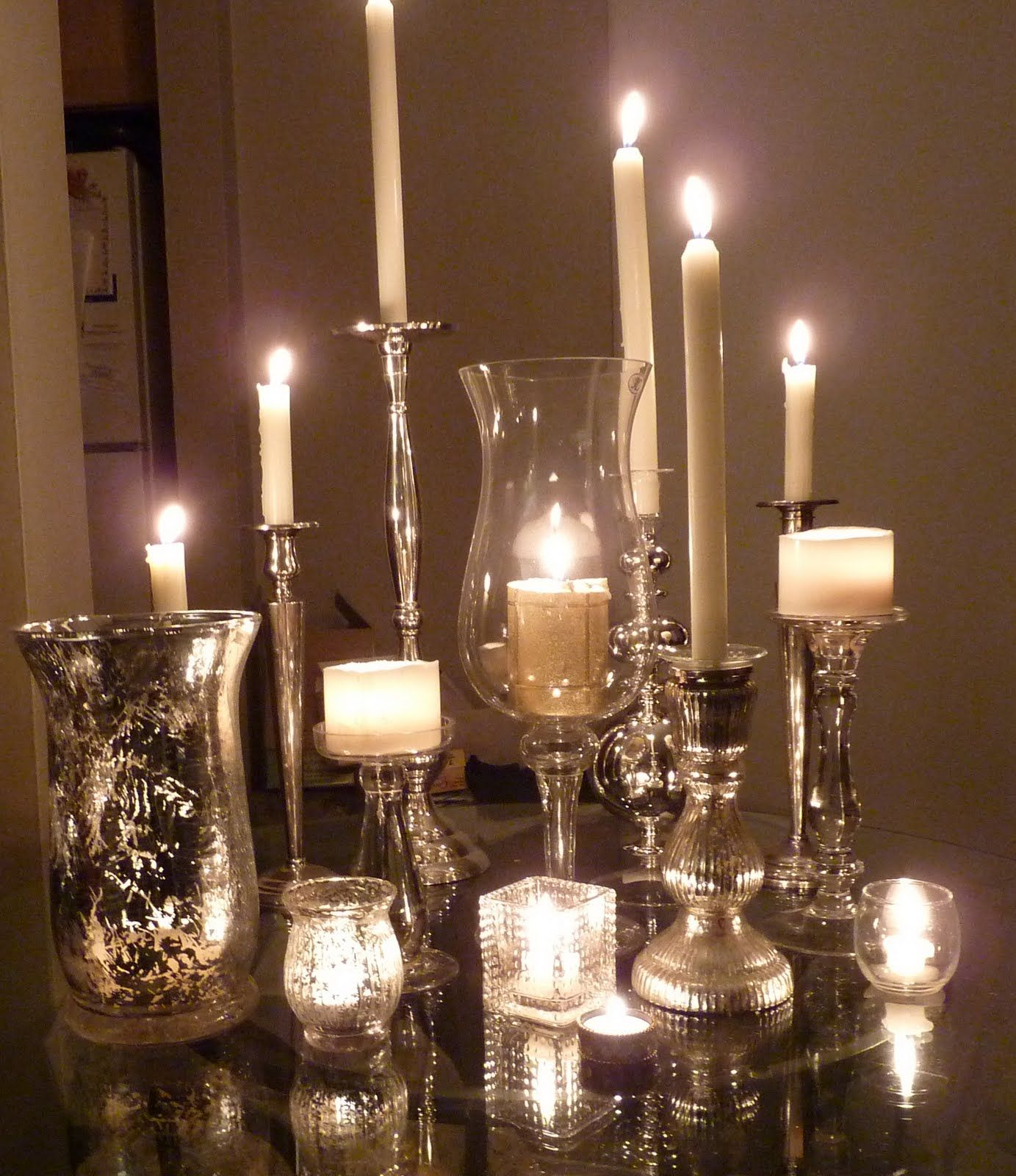 Mix and match mercury glass candle holders make a