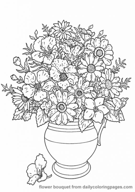 Realistic Flower In A Vase Coloring Page For Adults