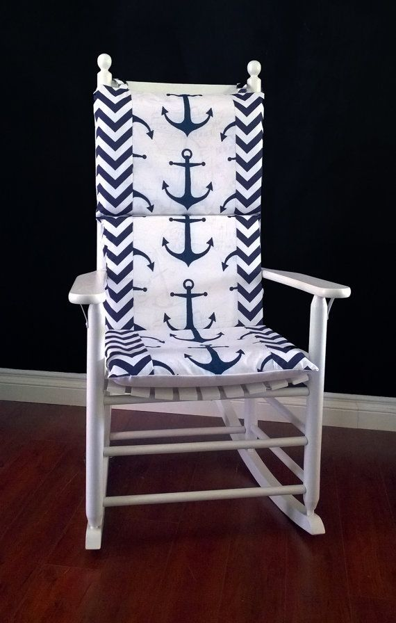 Attirant Rocking Chair Cushion Cover, Navy Anchor Chevron By RockinCushions, $75.00.  Gorgeous For A Nautical Themed Room!