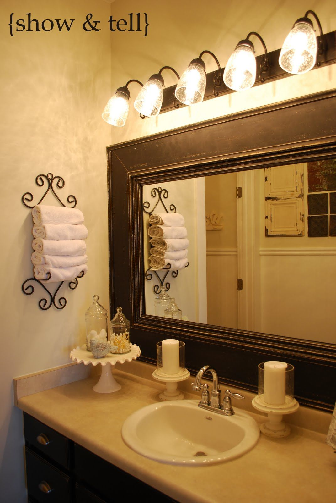 cake stand for holding things like soap and towel - cute idea, powder room