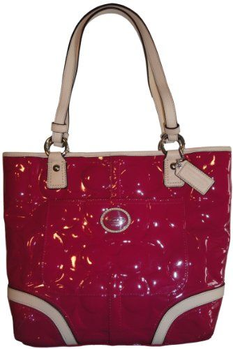 Women's Coach Purse Handbag Peyton Embossed Patent Leather Tote Magenta/Tan
