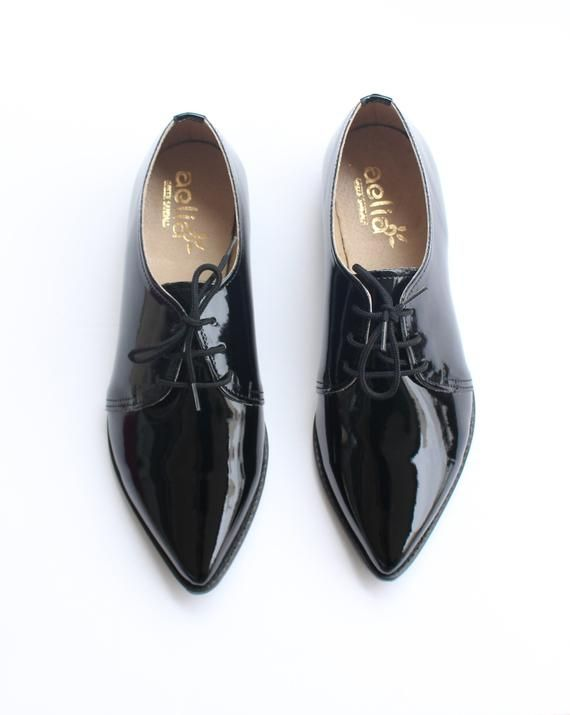 d2c98806dab07 Vegan Pointed Oxford Women Shoes Black Shoes Shiny Vegan Flat Derby ...