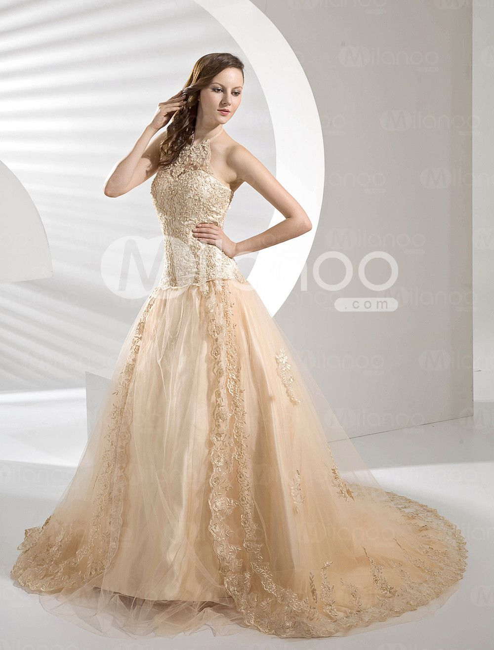 Satin lace organdie wedding dress milanoo wedding
