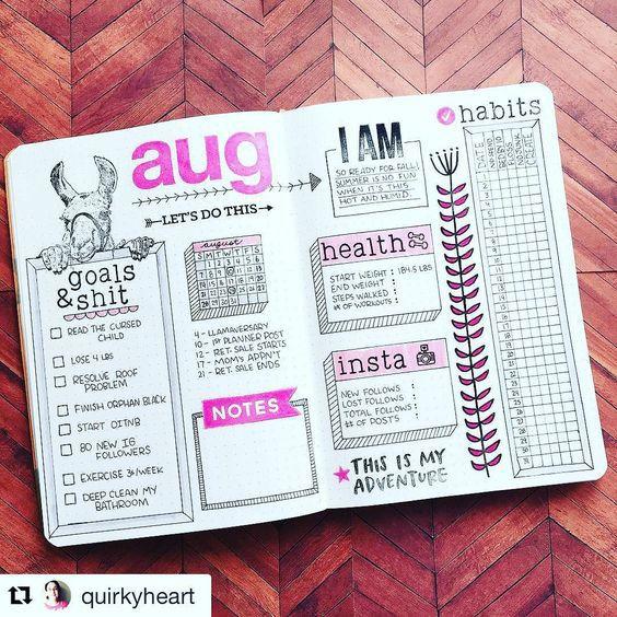Calendario mensual: seguimiento de hábitos. Organización en cuadros, hiper organización resultará práctico.