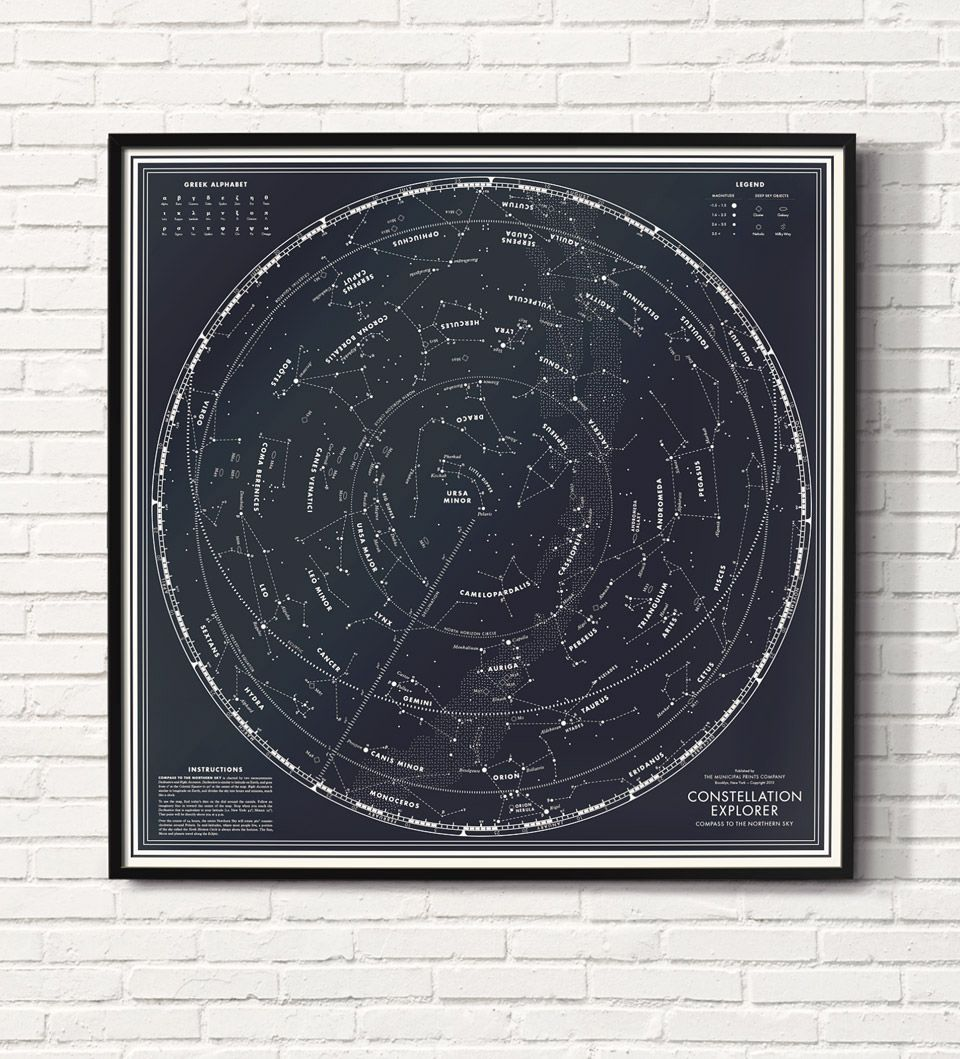 Compass To The Northern Sky Moon Landing Edition Constellation - Constellation wall map