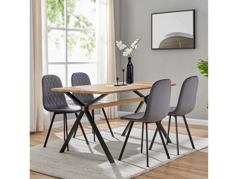 Ensemble Table A Manger 4 Chaises En Tissu Gris Design Ambre Vente De Table En 2020 Table Et Chaises Chaise Tissu Chaise Design
