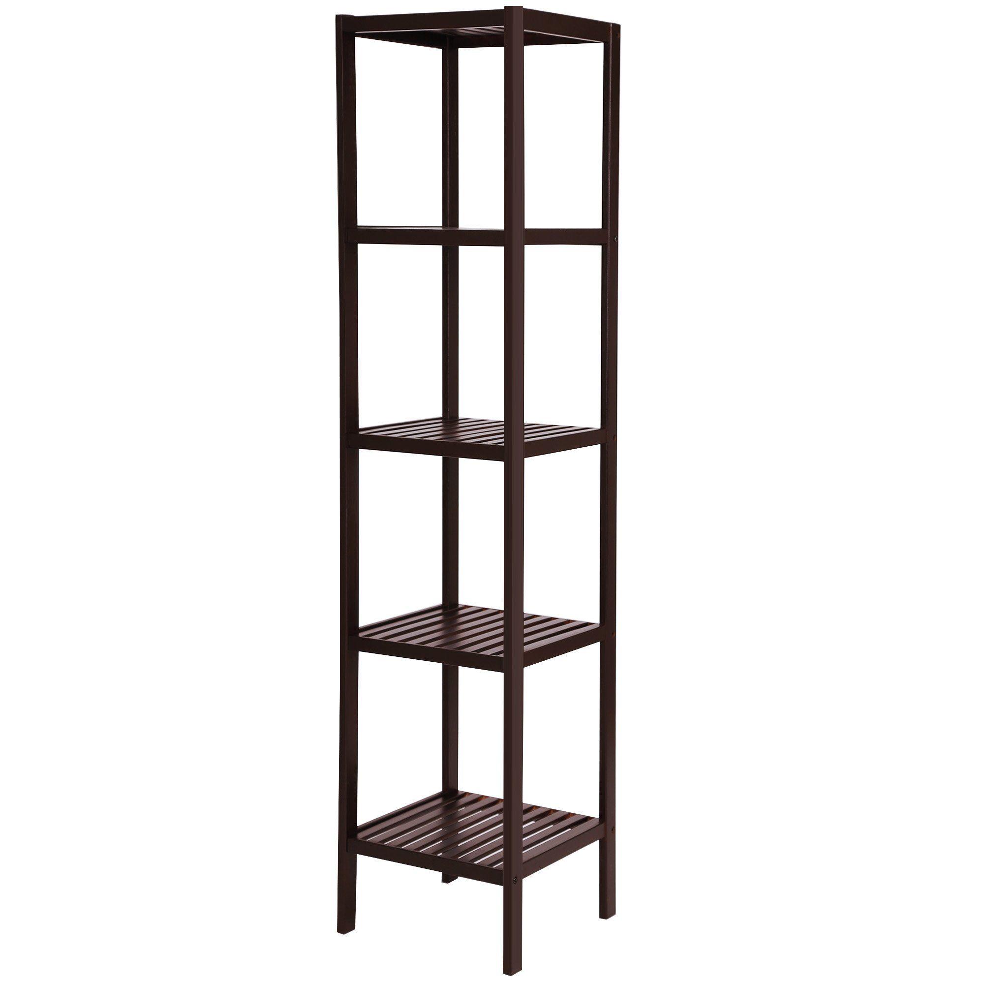SONGMICS 100% Bamboo Bathroom Shelf 5-Tier Multifunctional Storage ...