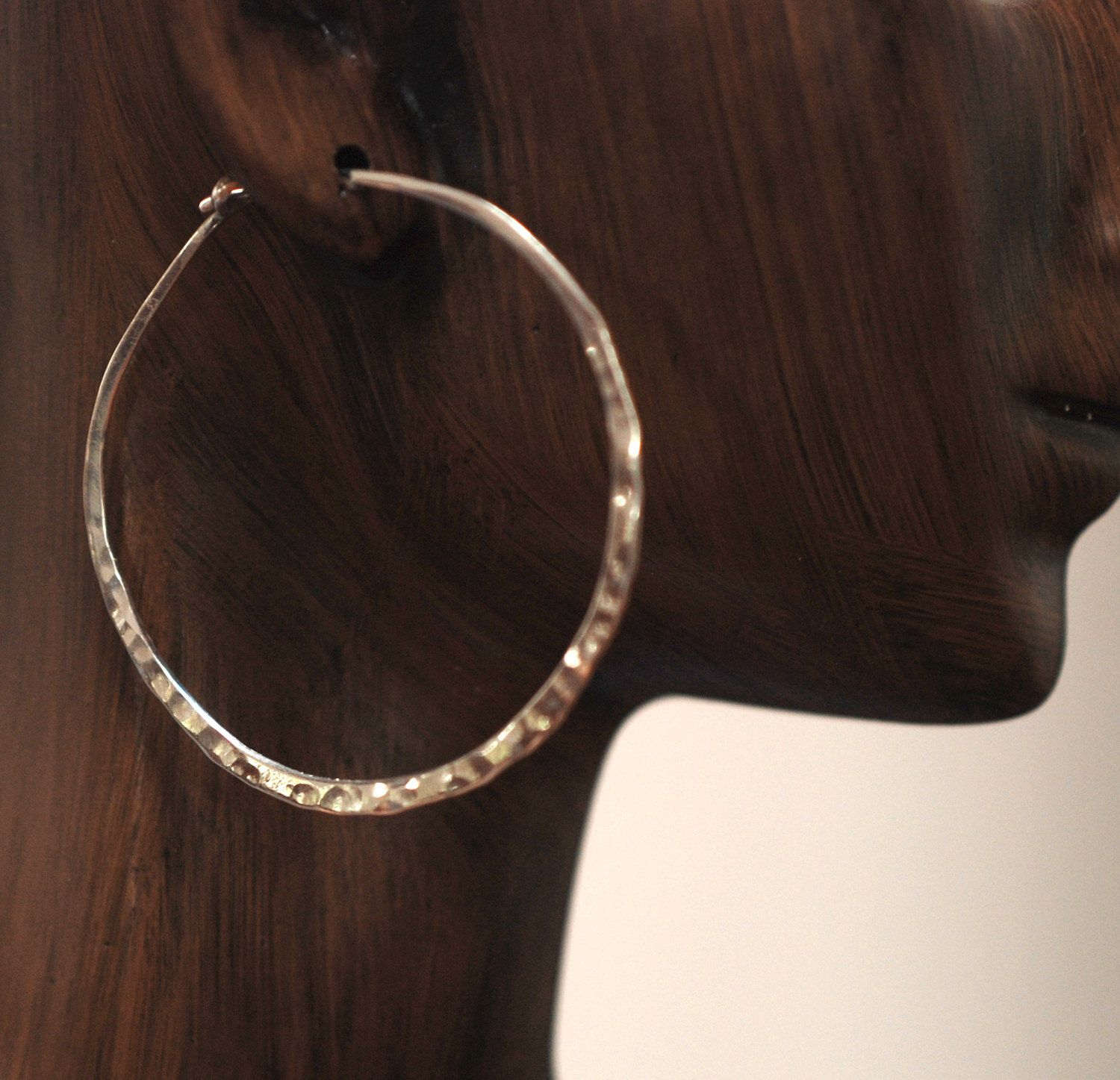 Hoops Large 925 Sterling Silver Hammered Hoop Earrings