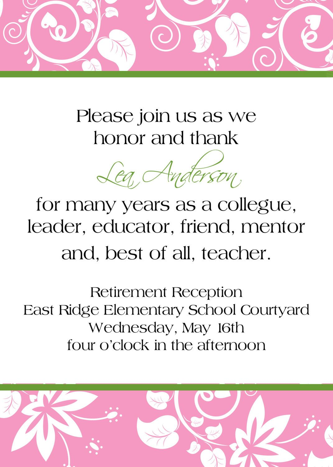 Love the wording.....retirement reception invitation. $10.00, via ...