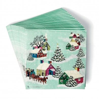 Set Of 20 Vintage Christmas Paper Napkins | DotComGiftShop  sc 1 st  Pinterest & Set Of 20 Vintage Christmas Paper Napkins | DotComGiftShop ...