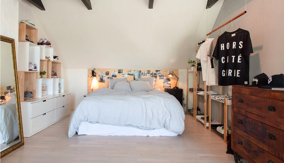 plywood headboard + shelves + LINEN