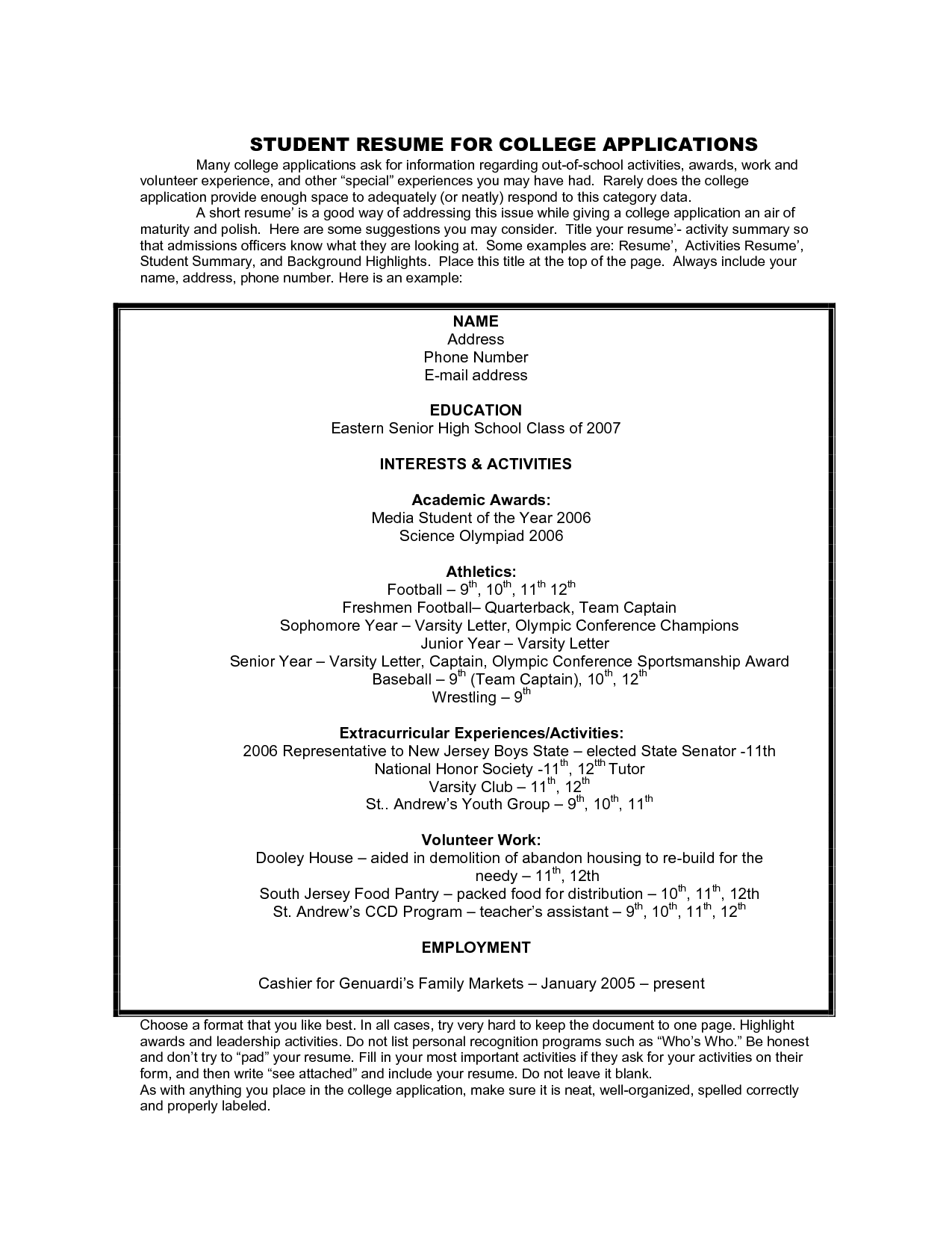 Wrestling Resume Resume Samples For College Applications Student Sample Resume