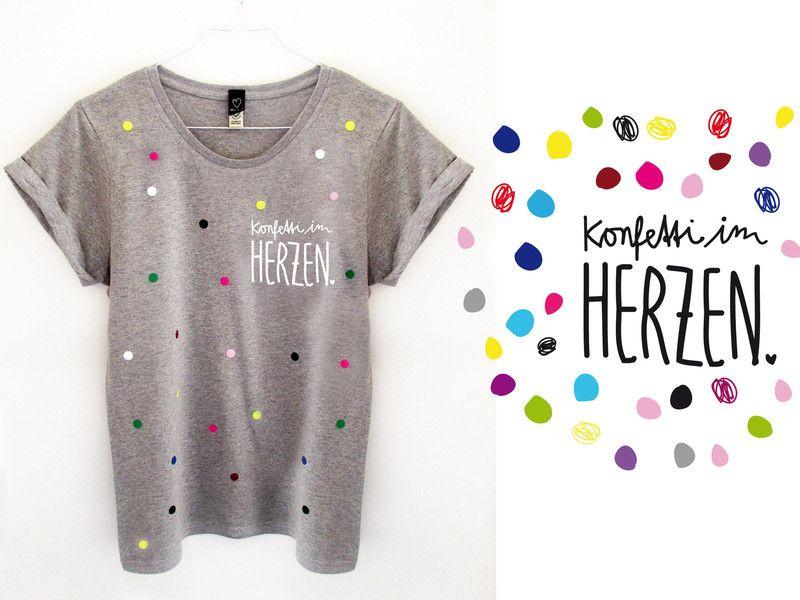 7d64dff7437a98 T-Shirts mit Print - T-Shirt  Konfetti 015 grey  - ein Designerstück von  klein-2 bei DaWanda