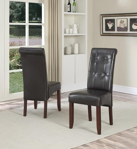 Cosmopolitan Delux Tufted Parson Chair Set Of 2 Faux Leather