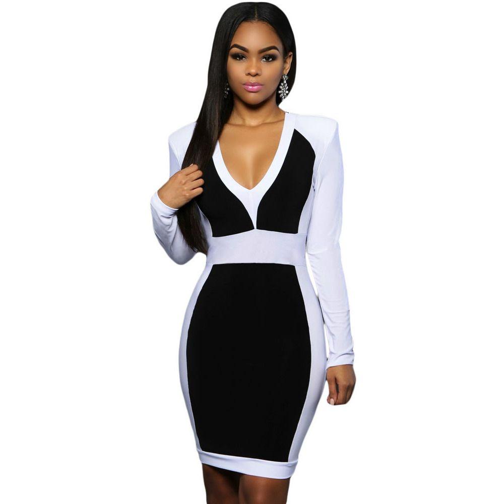 Black white color long sleeve midi dress sale laveliq products