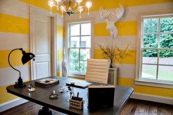 Contemporary Home Office With White And Yellow Striped Walls Home Office Colors Yellow Home Offices Contemporary Home Office