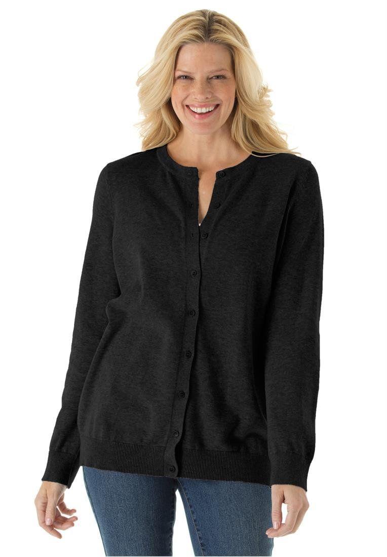 Women's Plus Size Classic Cardigan Sweater Black,1X | My Style ...