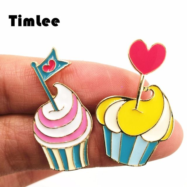 Aliexpress Com Buy Timlee X090 Cartoon Oil Drop Cute: X205 Cartoon Cup Cake Design Cute Metal Brooch Pins Gift