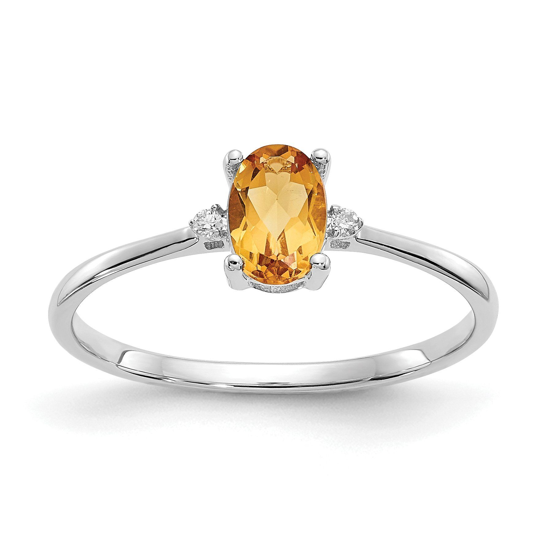 14k Or 10k White Gold Diamond Citrine Oval November Birthstone Ring Sparkle Jade Yellow Citrine Ring November Birthstone Ring Citrine Birthstone