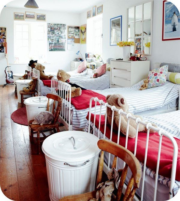 The four dwarves room! This would be a great way to do a long skinny attic room.  from Sweet as a Candy: Living Country
