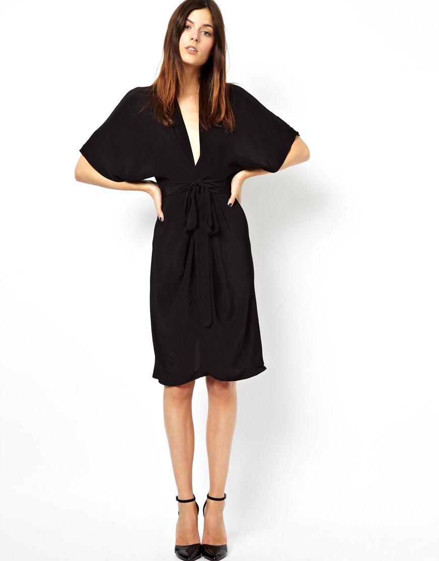 25d541884d28 Midi Dress with Kimono Sleeves | Style | Dresses, Asos black dress ...