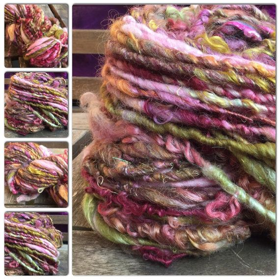 Special Hand Spun Textured Art Yarn using all the by Pinkipunki