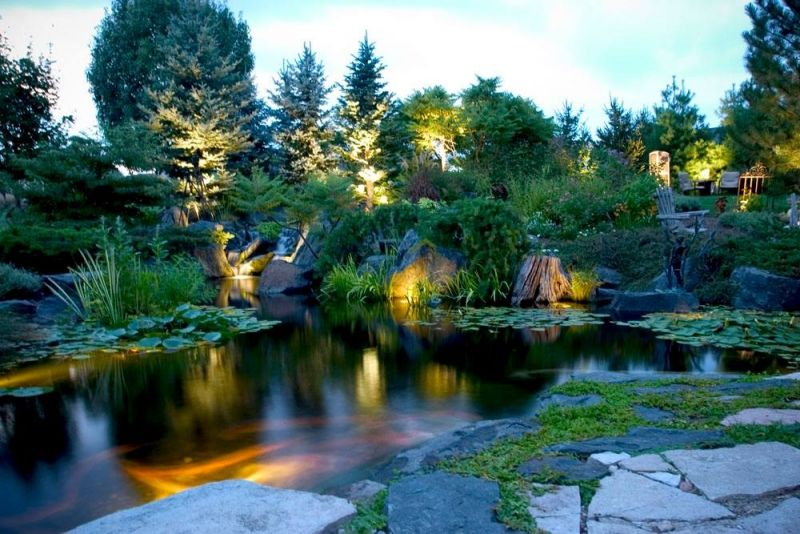 Teichbau Tipps Beleuchtung Abend Ideen Gestaltung