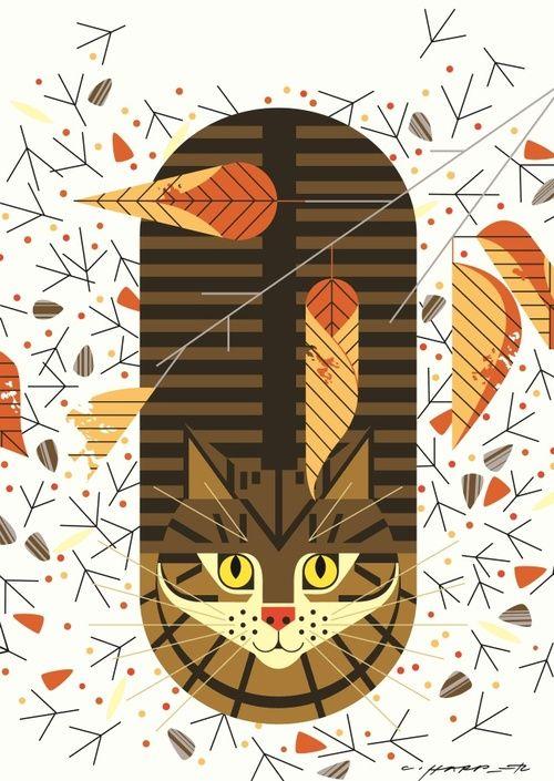 Charley Harper   Artwork   Pinterest   Gato, Animal gráfico y ...