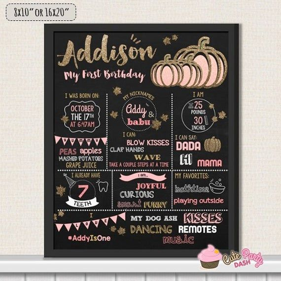 Photo of Pink and gold Little pumpkin First Birthday Chalkboard Sign – 1st Birthday Printable Sign – Fall pumpkin birthday party chalkboard sign