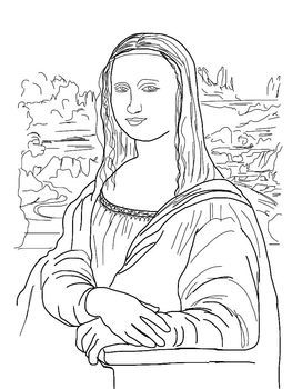 coloring pages mona lisa japanese bridge sleeping gyps - Mona Lisa Coloring Page Printable