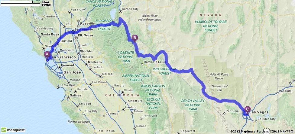 Driving Directions from San Francisco, California to Las ...