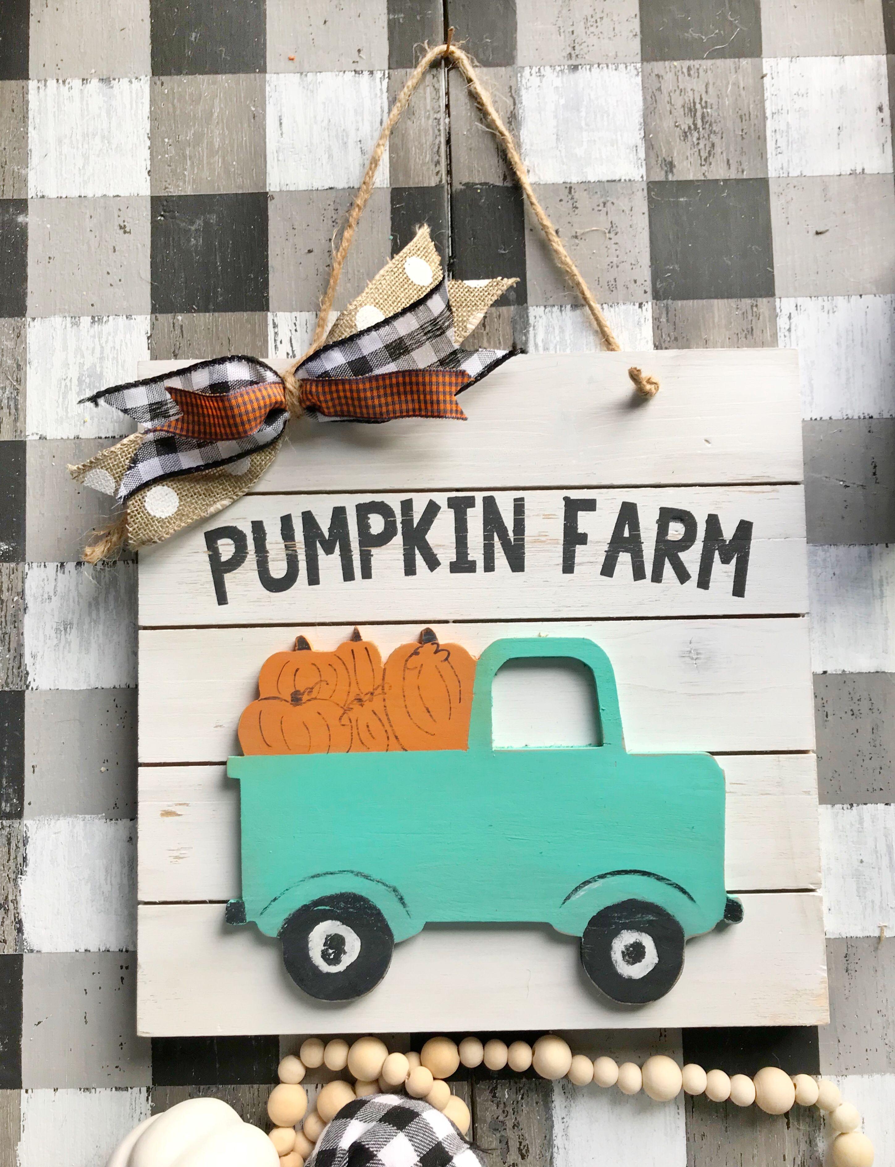 Pumpkin Farm Fall Wood Sign Farmhouse Truck Farmhouse Sign Etsy Fall Wood Signs Pumpkin Farm Wood Signs