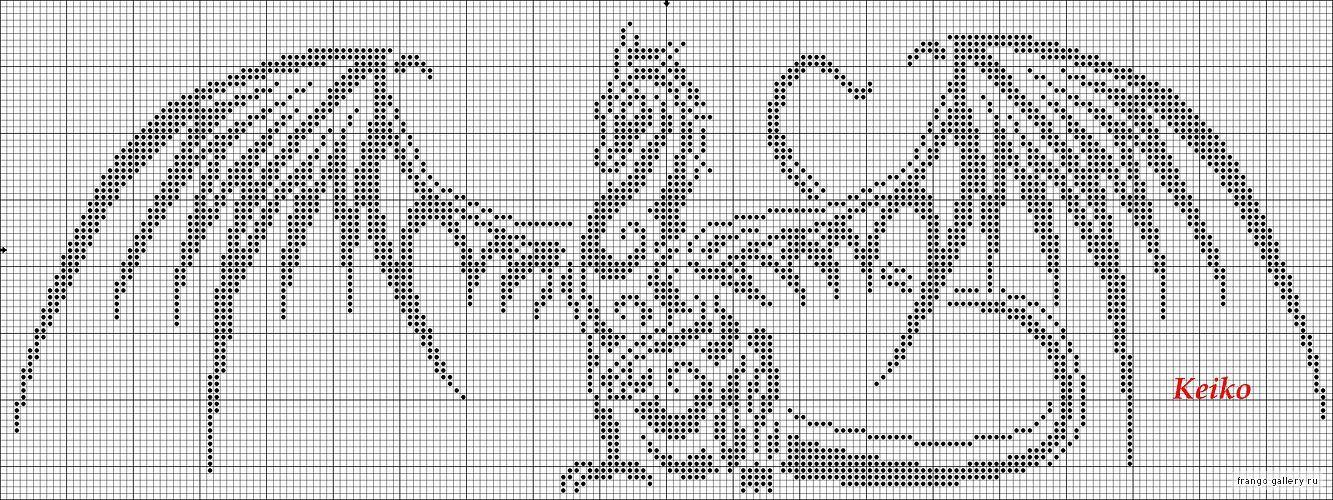 Схема вязания спицами рисунка крылья
