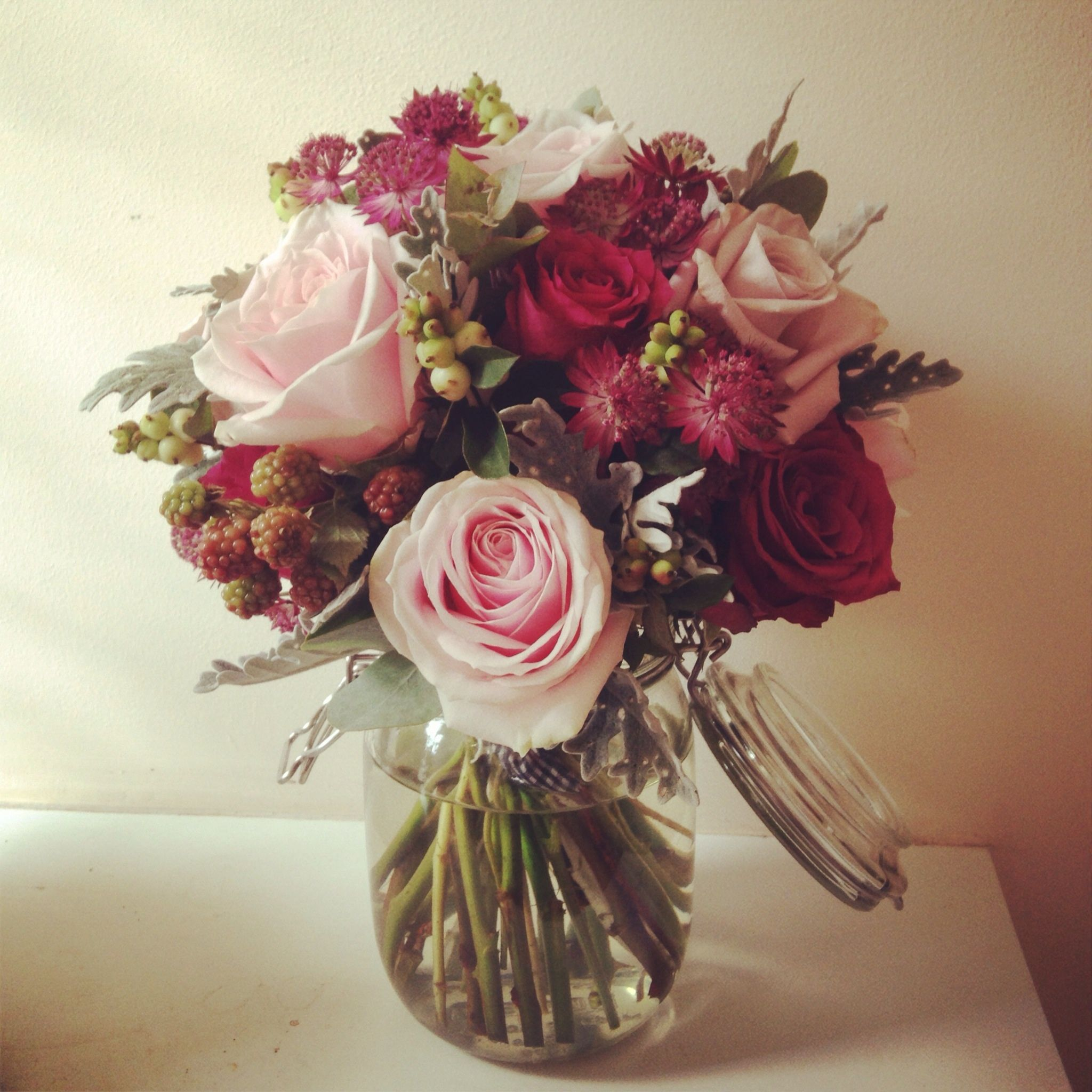 Very english country garden. Lovely deep pink roses | Rustic wedding ...