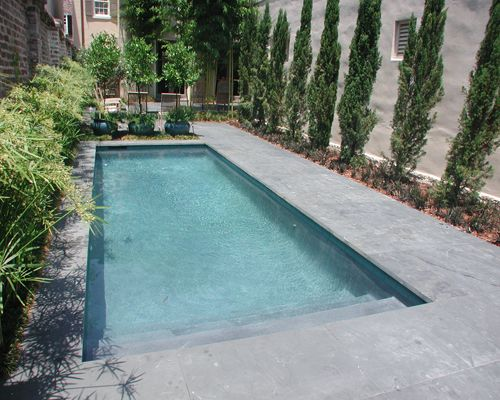 Classic rectangle formal courtyard design located in for Pool design rectangular