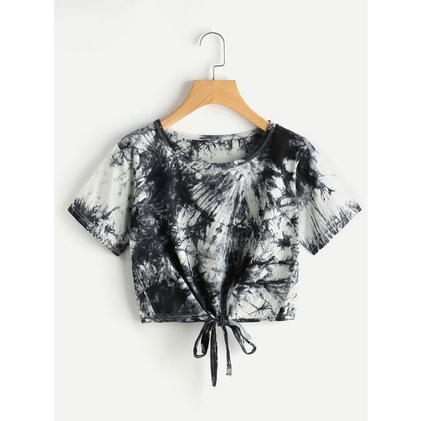 a6e992263e0 SheIn(sheinside) Tie Dye Knot Front Crop Tee ($8) ❤ liked on Polyvore  featuring tops, t-shirts, black and white, crop t shirt, tie dye tee, tie  dye t ...