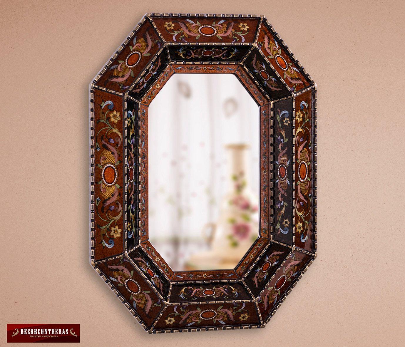 Arts crafts mirror wall decor hand crafted nogal painted - Decoracion de espejos ...