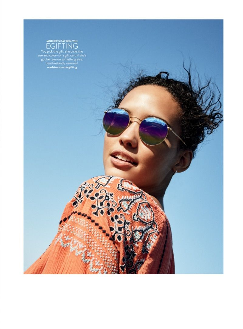 f7a77a1b7d Ray-Ban 53mm Round Sunglasses ( 175.00) and Joie Nieva Embroidered Cotton  Shift Dress ( 298.00)