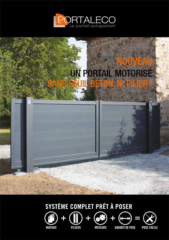 Un Portail Coulissant Motorise 2 Vantaux A Ouverture Centrale Le Portail Est Autoportant Plus De Rail Au Sol Ni De Seuil Beton