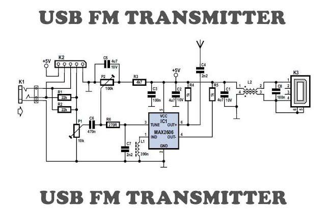 Usb Fm Transmitter Circuit Fm Transmitters Transmitter Electronic Schematics