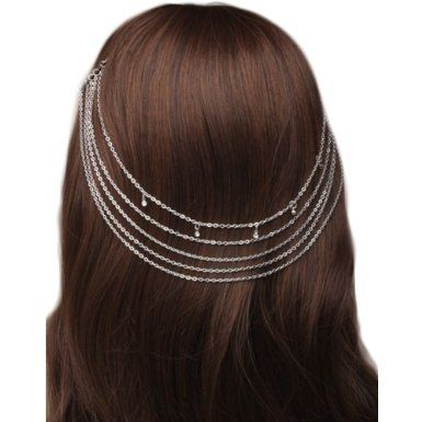 4502 Vintage silver colour hair chains on Combs with crystals Wedding Party Prom: Amazon.co.uk: Clothing