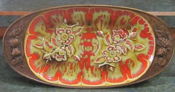Treasure Craft Platter Wood Grain Design Orange Butterscotch