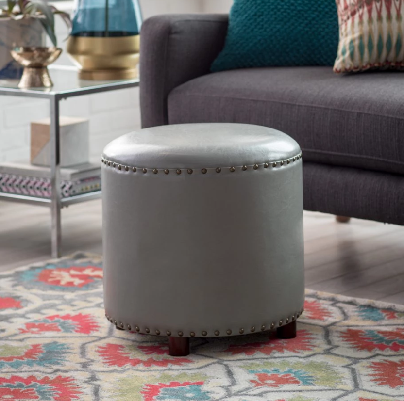 Round Leather Ottoman Hassock Footstool Seat Nailhead Stud Accents Gray Bonded Ebay Leather Ottoman Round Leather Ottoman Ottoman