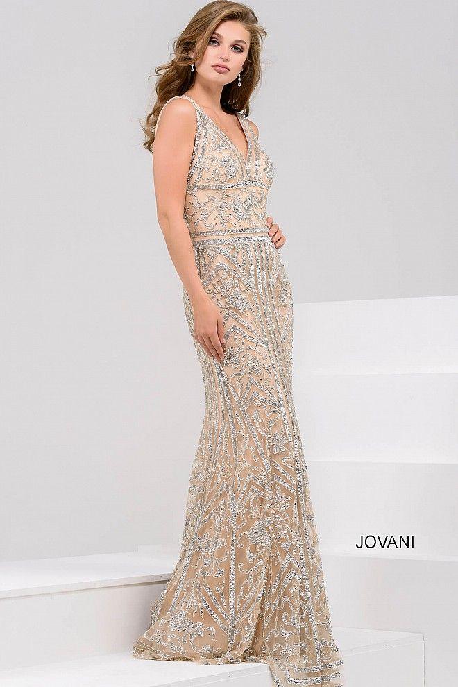 Nude and sliver V neck Embellished Prom Dress 33007   Wedding 2017 ...