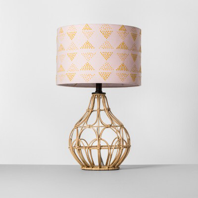Rattan Table Lamp Pink Shade Opalhouse In 2021 Table Lamp Shades Rattan Lamp Lamp