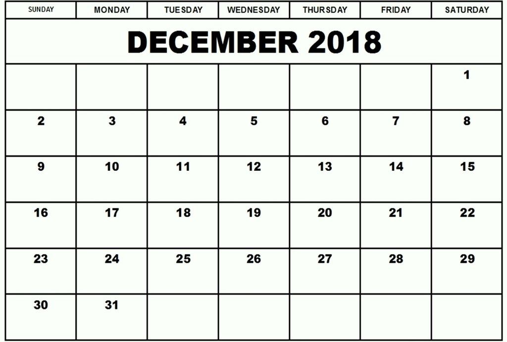 December 2018 Calendar Month December 2018 Calendar Editable